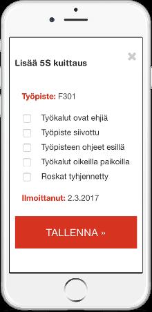 5S-tarkistuslista mobiilissa