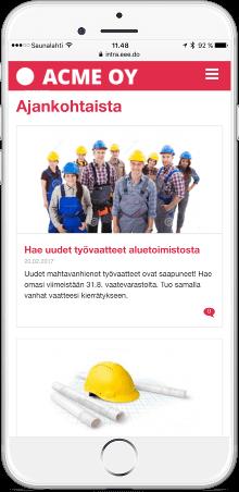 eeedon intranet mobiilinäkymä
