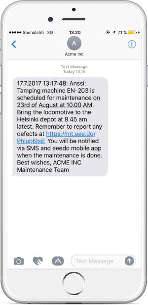 Locomotive maintenance SMS notification