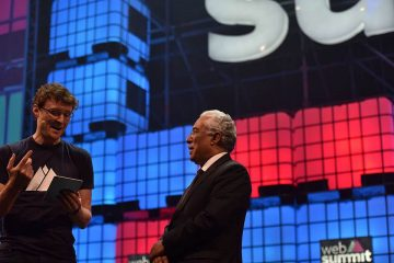 Paddy Cosgrave, Web Summit founder (left) and António Costa, Prime Minister of Portugal (right) at the opening ceremony 2016.