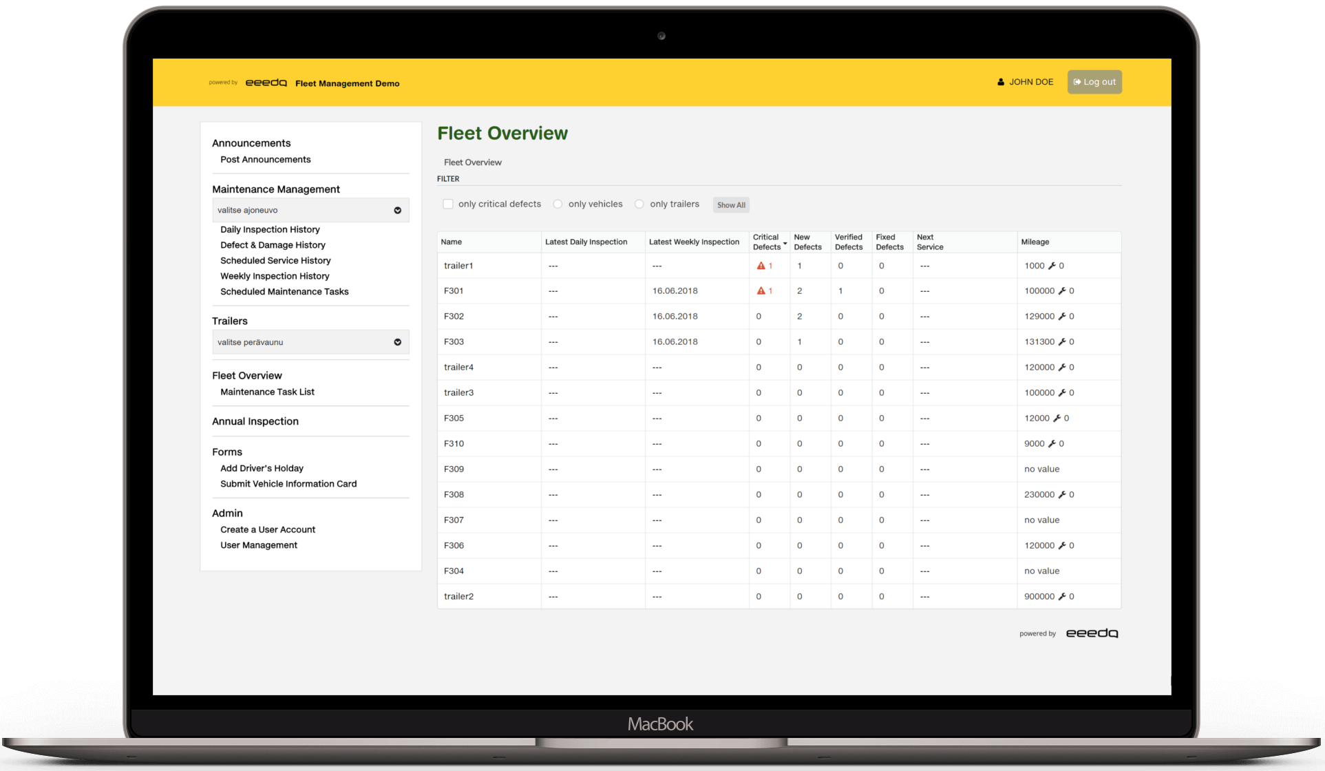 eeedo fleet maintenance software fleet overview on a laptop
